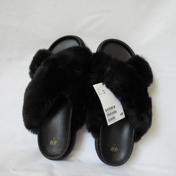 H&M Faux Fur Platform Slides Women's 8.5